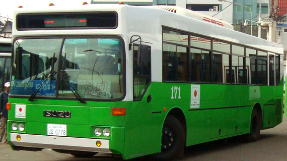 city bus 45-seat, green-white