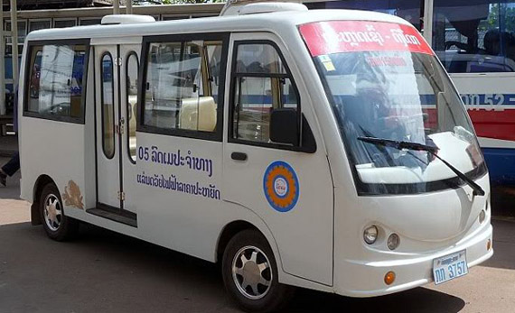 Small electric bus in Vientiane