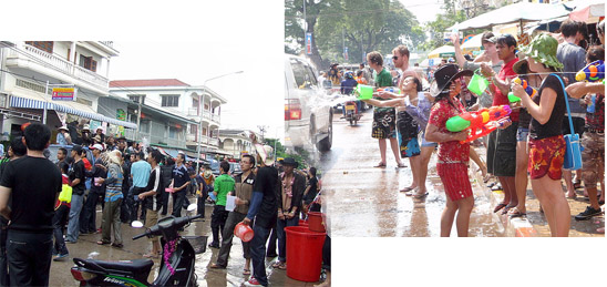 Lao New Year - Water fight on streets