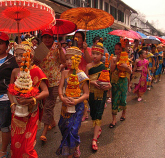 Lao New Year - parade in Luang Prabang