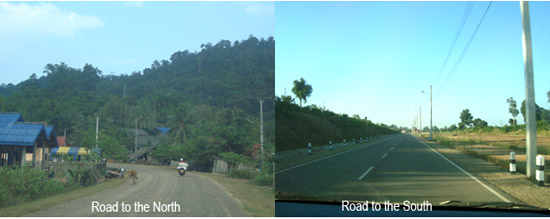 Road to the North and road to the South of Laos