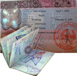 Lao visa stampted on a passport