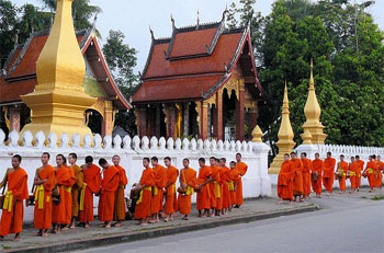 Luang Prabang - Monks collecting alms at sunrise
