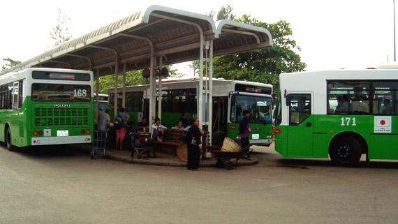 city bus - station at Morning martket
