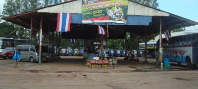 Laos border crossing shuttle bus station in Nong Khai