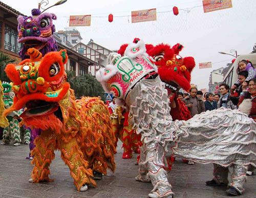 Chinese New Year - 2 Chinese Lion, white and orange