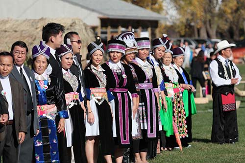 Hmong dressed up in traditional costumes
