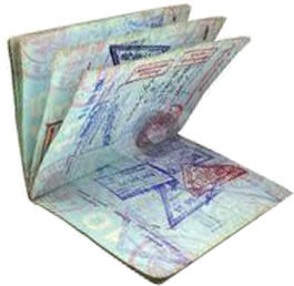 Passport with immigration stamp