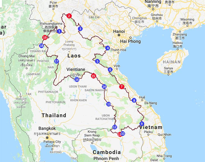 Laos border crossing points